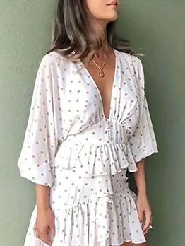 V Neck Polka Dot Long Sleeve Ruffle Dress