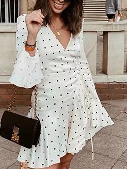 Chic V Neck Flare Sleeve Polka Dot Dress