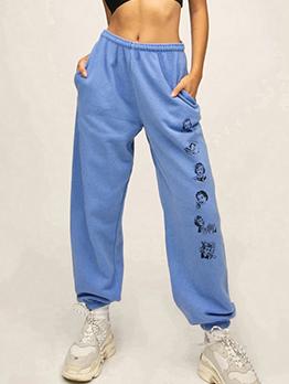 Image Printing Side Pockets Elastic Waist Jogger Pants