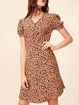 V Neck Short Sleeve Leopard Print Dress