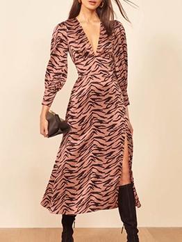 Sexy v Neck Slit Satin a Line Dress
