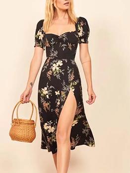 Square Neck High Split Short Sleeve Floral Dress