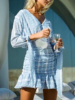 V Neck Chiffon Embroidery Long Sleeve Dress
