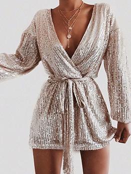 Sexy v Neck Sequin Long Sleeve Mini Dress