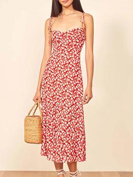 Tie Shoulder Floral Sleeveless Midi Dress