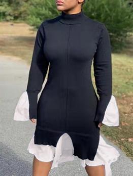 Flare Sleeve Black And White Long Sleeve Dress
