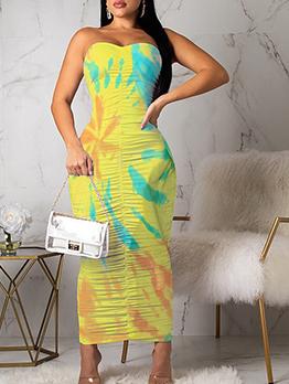 Draped Draped Strapless Maxi Dress For Women