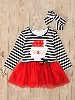 Christmas Striped Santa Claus Dress For Girls
