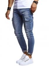 Pockets Washed Casual Boyfriend Jeans