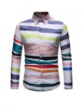 Colorful Striped Men Button Down Shirt