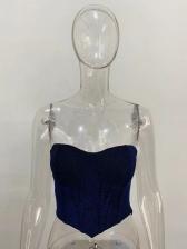 Hot Sale Zipper Glitter Strapless Camisole For Women