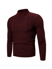 Youth Solid Long Sleeve Men Cable Knit Sweater