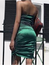 Drawstring Ruched Transparent Strap Sleeveless Green Dress