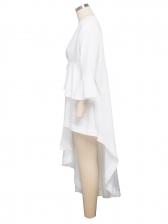 V Neck High Low White Maxi Dress