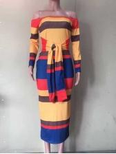 Colorful Off Shoulder Long Sleeve Midi Dress