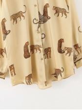 Chiffon Animal Printed Ladies Blouse