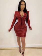Lustrous Long Sleeve Zip Up Bodycon Dress