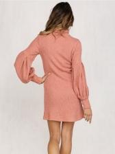 Chic Solid Turtle Neck Lantern Sleeve Sweater Dress