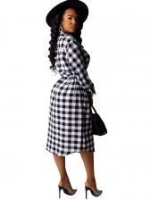 Casual Plaid Button Down Midi Dress