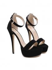 Stiletto Black Buckle Strap Platform Sandals