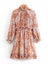 Retro Stringy Selvedge Printed Long Sleeve Dress