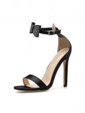 Rhinestone Bow Peep Toe Summer Sandals