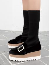 Square Toe Strap Decor Solid Wedge Boots