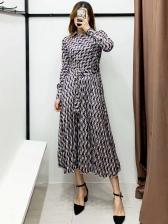 Turn Down Collar Wrap Geometric Printing Midi Dress
