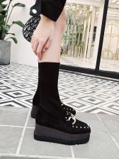 Metal Splicing Slip On Wedge Boots