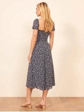 Retro Square Neck Split Short Sleeve Floral Dress