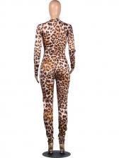 Leopard Print Front Zipper Long Sleeve Jumpsuit