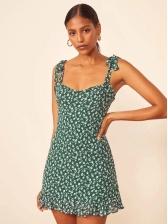 Retro Tie Shoulder Sleeveless Floral Dress