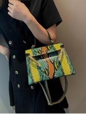 Contrast Color Snake Print Ladies Crossbody Handbags