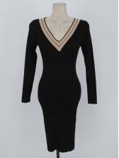 V Neck Knit Long Sleeve Sweater Dress