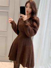 Winter V Neck Solid Long Sleeve Short Dress