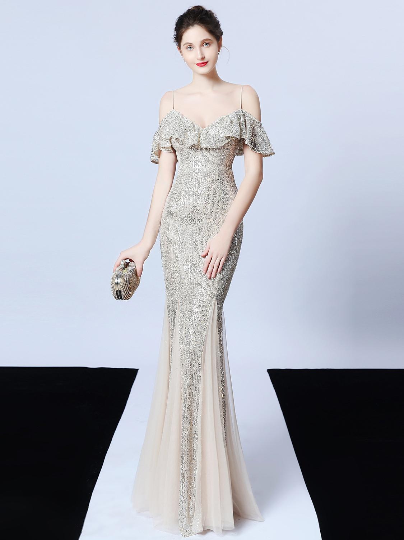 Gauze Patchwork Sequin Boutique Evening Maxi Dresses