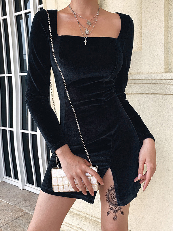 Square Neck Solid Slit Long Sleeve Mini Dress