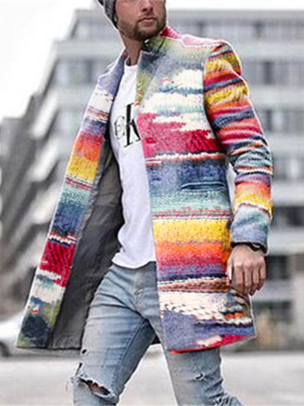 Rainbow Colorful Long Sleeve Men Overcoat
