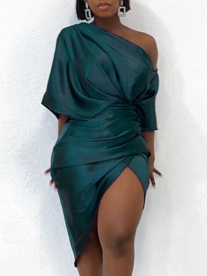 Inclined Shoulder Irregular Short Sleeve Dress