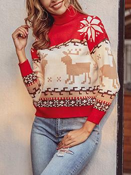 High Neck Knitting Christmas Sweater