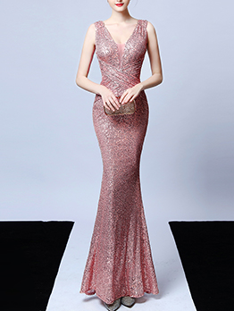 Boutique Sleeveless Sequin Fishtail Long Evening Dress