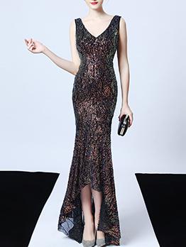 Boutique V Neck Irregular Hem Sleeveless Evening Dress