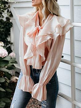 Autumn Sweet Style Tie Neck Pink Ruffle Blouse