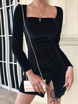 Square Neck Solid Slit Long Sleeve Mini Dress