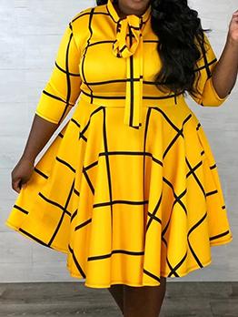 Contrast Color Line Bowknot Neck Dresses For Women