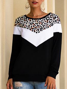 Leopard Printed Contrast Color Crewneck Sweatshirt