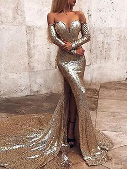 Glitter Off Shoulder Floor Length Dresses