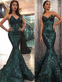 V Neck Strapless Fishtail Long Evening Dress