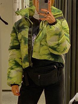 Turndown Neck Tie dye Winter Short Coat For Women