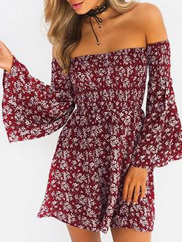 Floral Long Sleeve Off The Shoulder Dress
